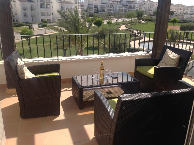 Back balcony overlooks gardens with golf and Mar Menor views