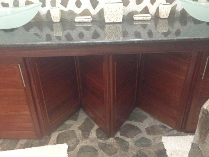 Elegant black granite counters, dual, clear frosted glass vessel sinks, overlook manicured gardens