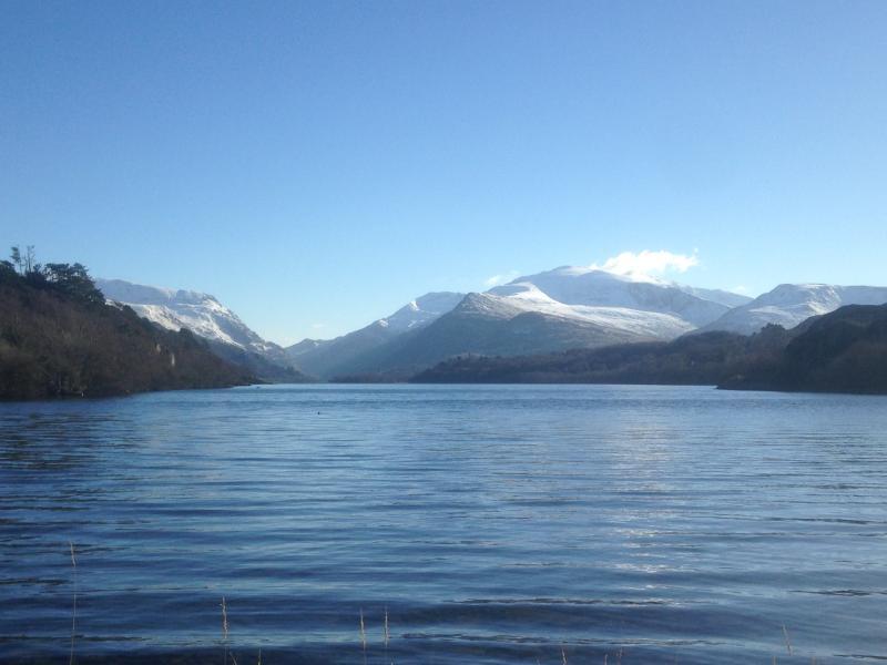 Lake Padarn and the peak of Snowdon