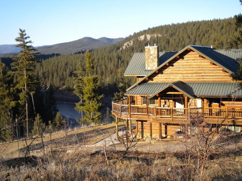 The main lodge above the river