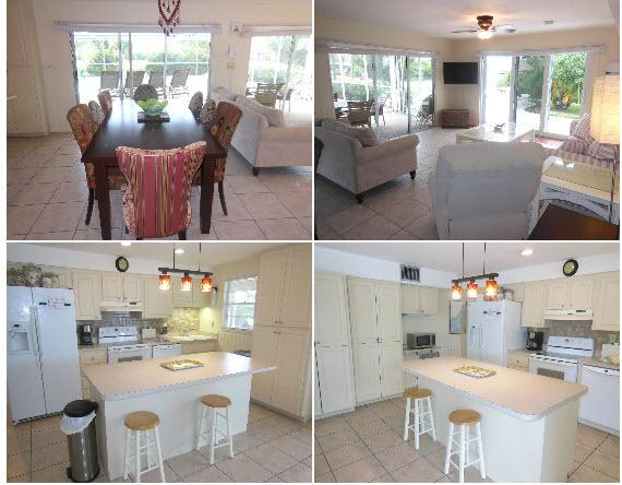 Downstairs by the pool, Kitchen, dining and 2nd Living room