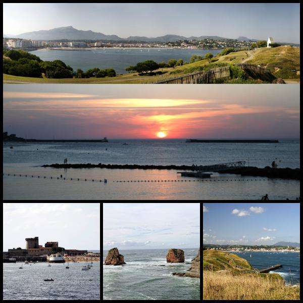 la baie de St Jean vue de ste Barbe coucher de soleil à St Jean le fort, les 2 jumeaux d'Hendaye +