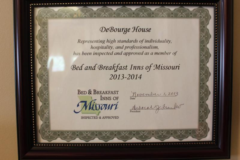 Bed and Breakfast Inns of Missouri Inspection Certificate