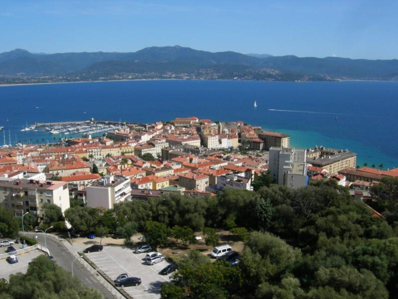 Panoramic view on the old town and the Gulf of Ajaccio.