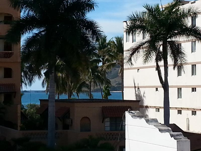 Right across the street from the beach and fabulous pool side hotel facilities!