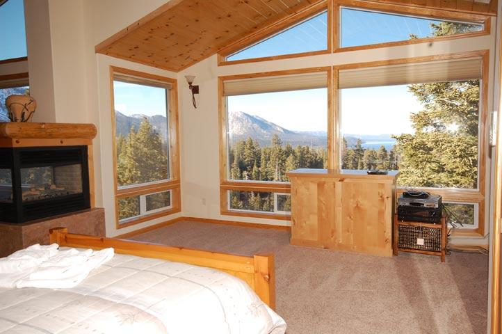 Master Bedroom with View and Fireplace