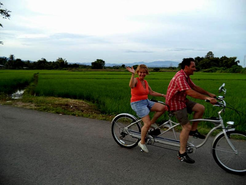 Enjoying a Tandem bicycle ride at Mae Wang
