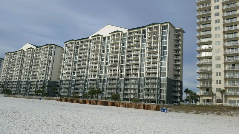 View of Tower 1 from the beach.  Our condo is on the 12th Floor.