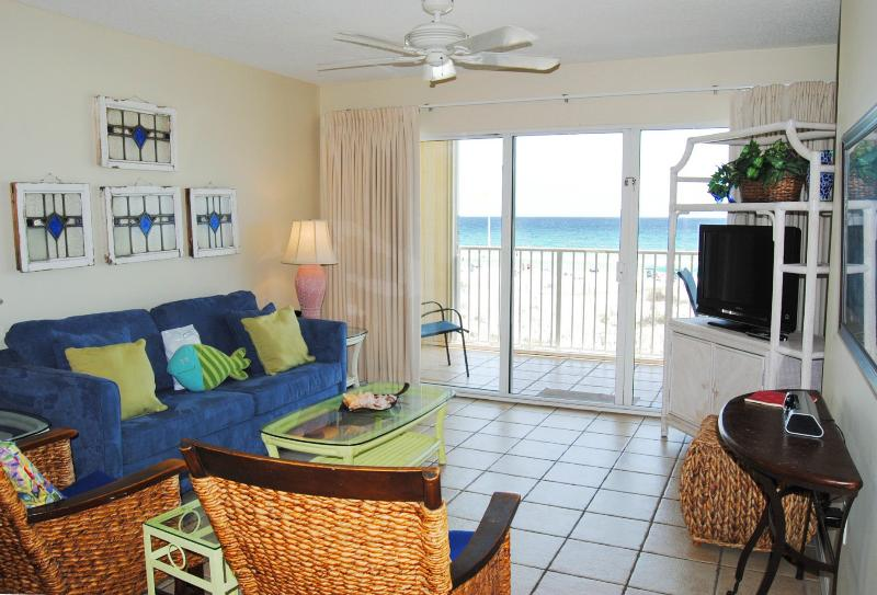 Living Room. Awesome views of the Gulf!