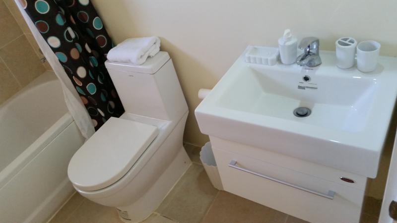 2 badkamer met bad en regen hoofd douche.