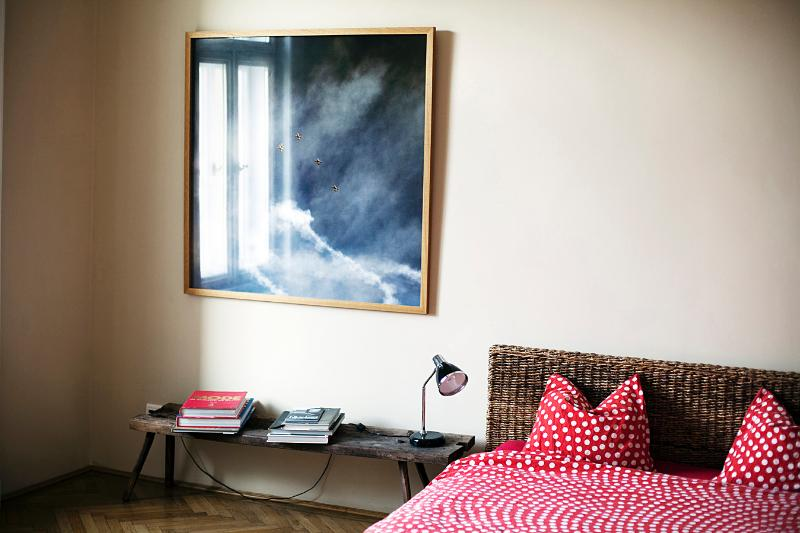 one of the bedrooms with real artist work from around the world
