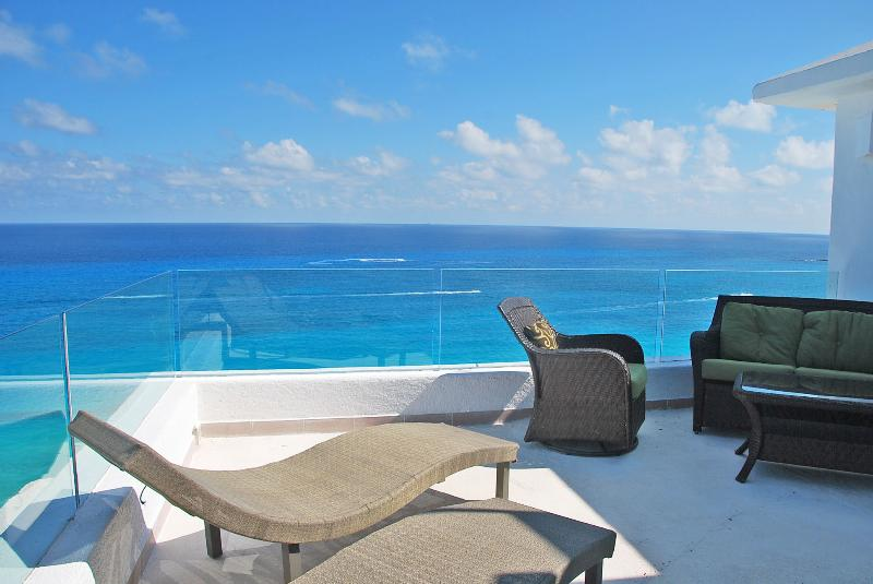 Oceanside Terrace faces straight out to the Caribbean.  This is a true penthouse, rooftop.