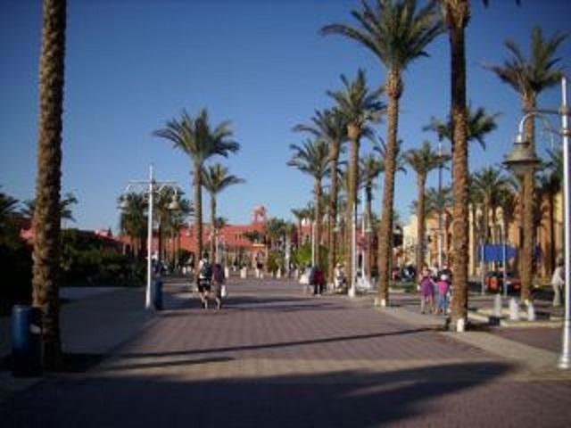 boulevard with shops and restaurants