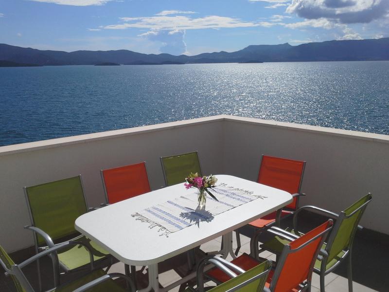 Villa Mediterraneo terrace with stunning sea view, holiday rental in Komarna