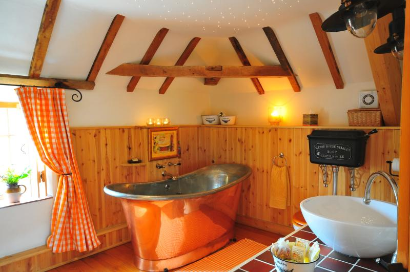 The amazing beamed bathroom with copper bateau spa bath, shower, small sauna and twinkly lights!