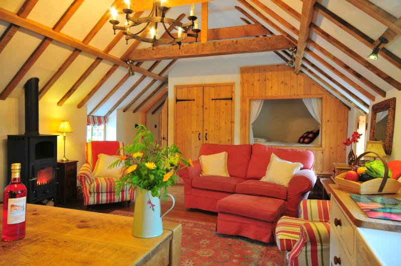 The amazing living area in the Hayloft - warm, cosy, romantic - you'll never want to leave!