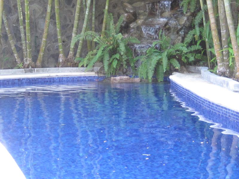 Swim in your own 40ft private pool. Relax, destress listening to the falling water as you cool off.