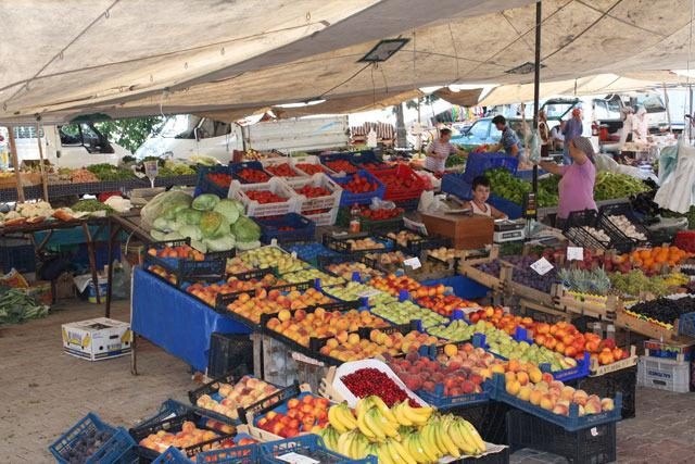 The Thursday market - only a two-minute walk from the apartment