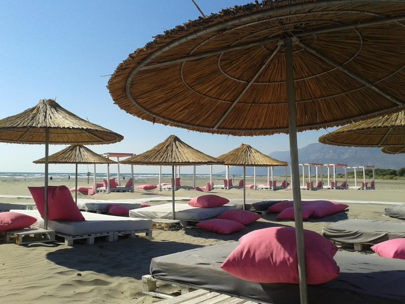 A beach club at Patara, a short bus ride away