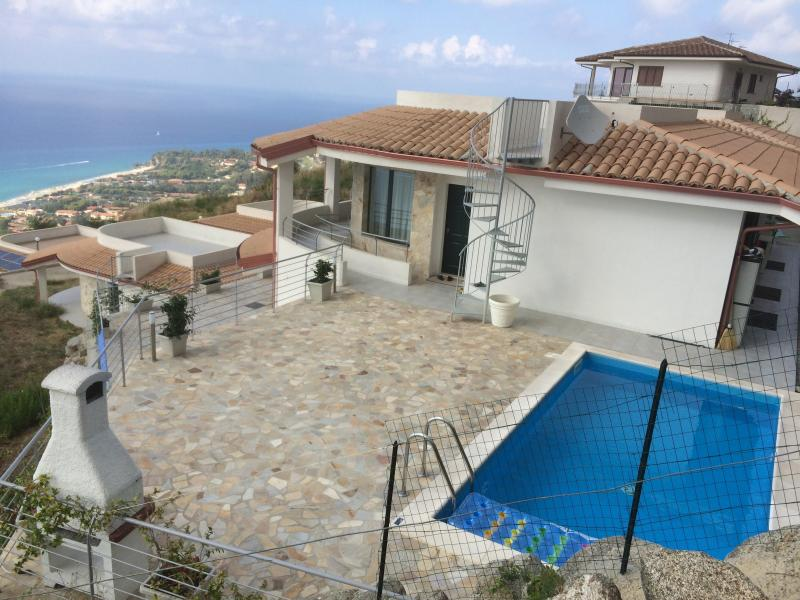 View of the villa and pool
