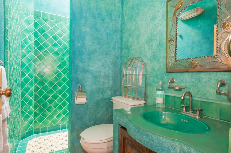 Green, green bathroom with skylight above large stall shower