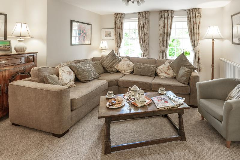 Living room with large corner group sofa