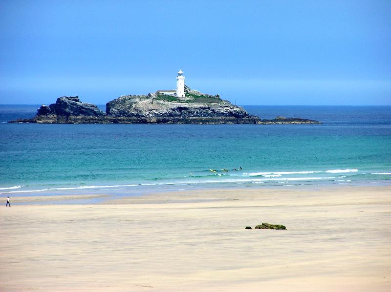 Godrevy Lighthouse from the lovely sandy beach at Gwithian. Seal pups can be seen at certain times.