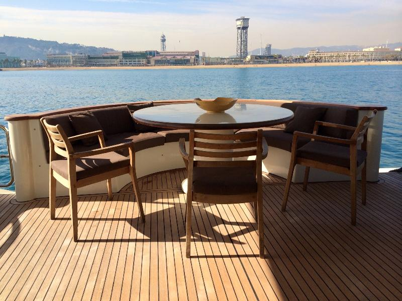 The aft deck seating area with view of the day