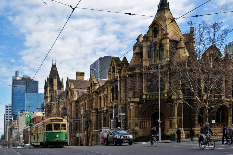 A tram stop located just outside the building on LaTrobe St.