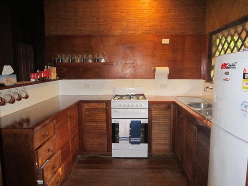 gerenoveerde keuken met koelkast met vriesvak, gas-kookplaat en oven, plus een bbq