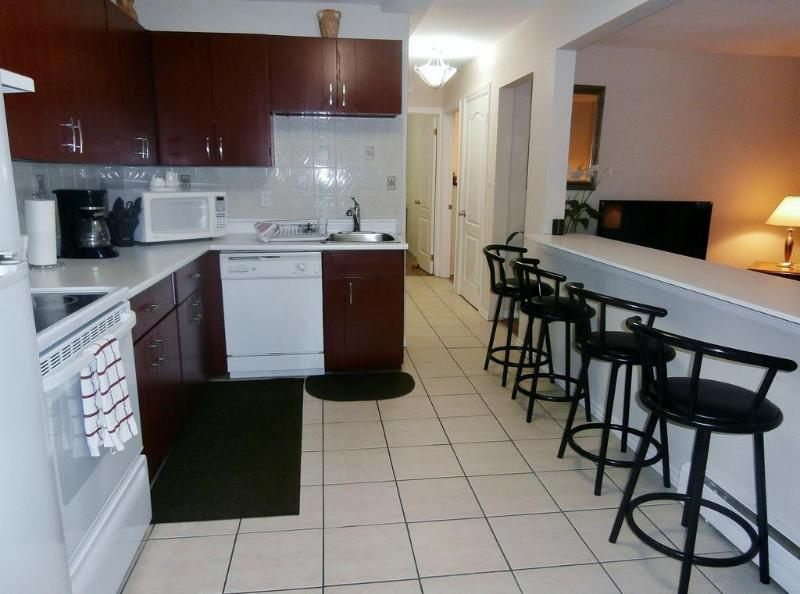 Fully Equipped Open Concept Kitchen/Breakfast Bar with Swivel Matching Counter Top Stools.