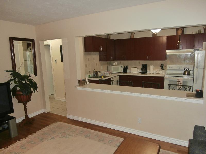 Suite 2. Open Concept Living Room/Kitchen and Breakfast Bar.