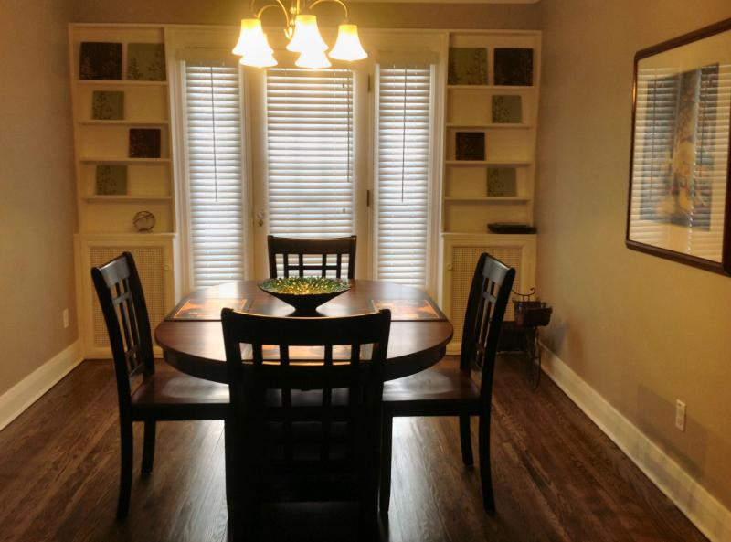 Spacious dining room with garden door to back yard patio