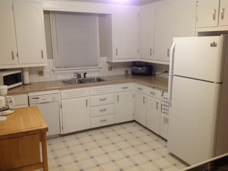 Fully equipped kitchen includes dishes, utensils, cookware, and even a dishwasher