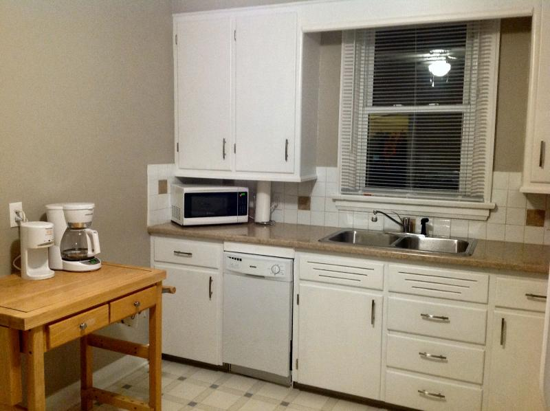 Coffee maker, Hot Shot, microwave, toaster oven.  Coffee, tea, and all the fixings included.