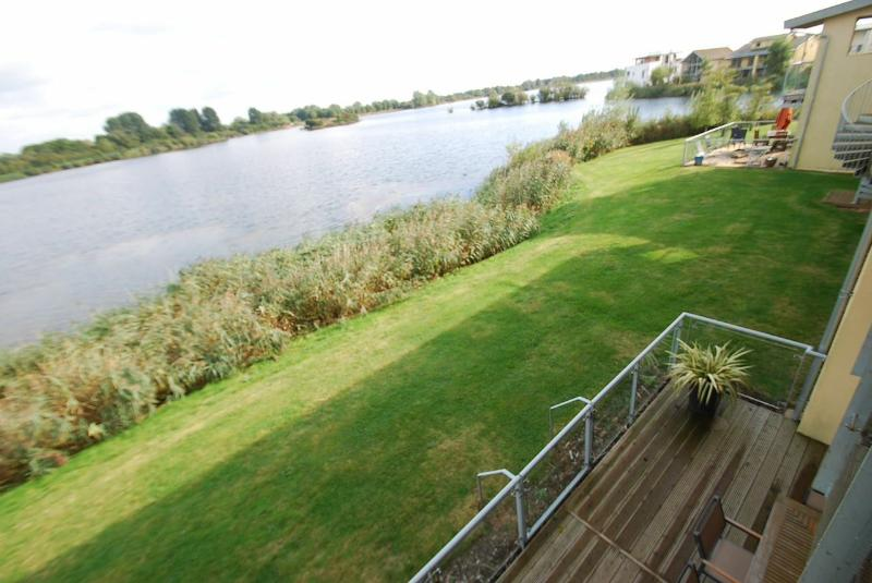 First floor balcony views across the lake and nature reserve, completely uninterrupted views