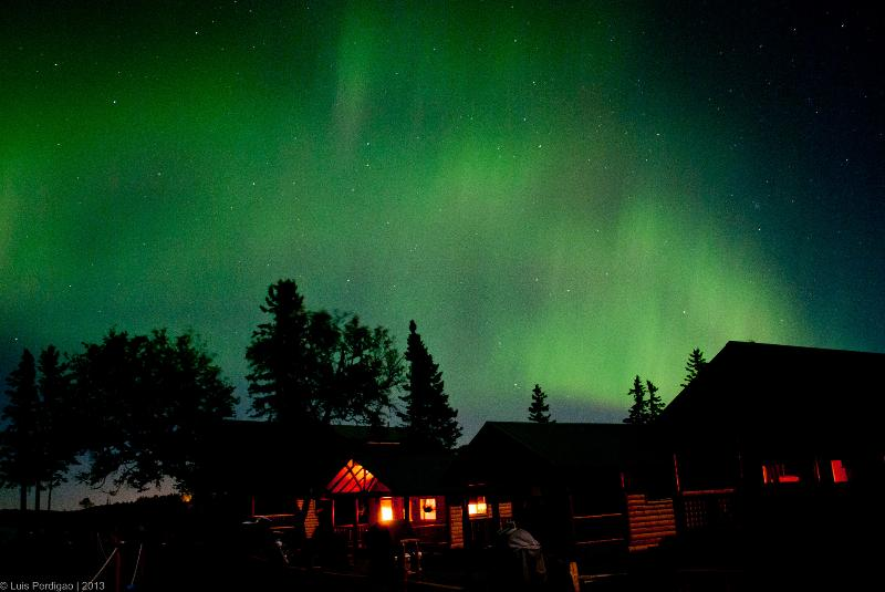 Spectacular views of the Northern Lights above our cabins