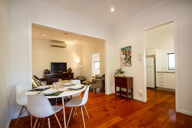 Open plan throughout. Watch the 'footy' while cooking the bbq and dining on the deck.