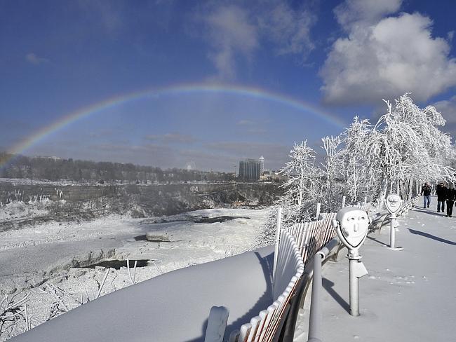beautiful  winter scene in  Niagara  Falls