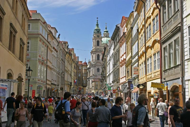 Mala Strana, few minutes by walk or 4 Tram stops with Tram 22 from Narodni Trida Station
