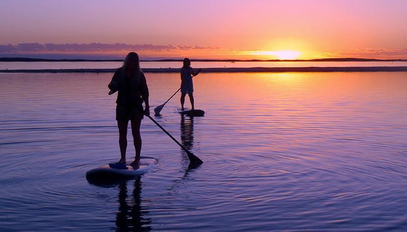 Intenta levantarse paddle boading, libre uso de misiones, tablero disponible en el Club Bahía de Maui.