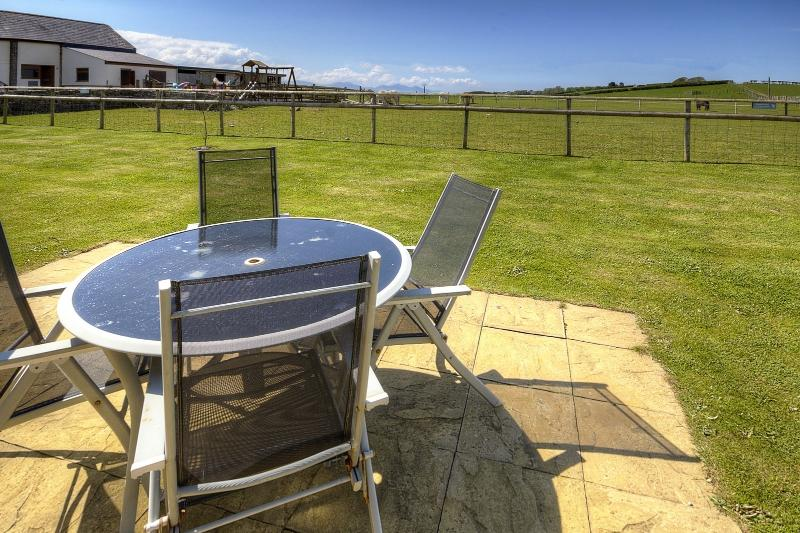 Rear Patio with views across open countryside