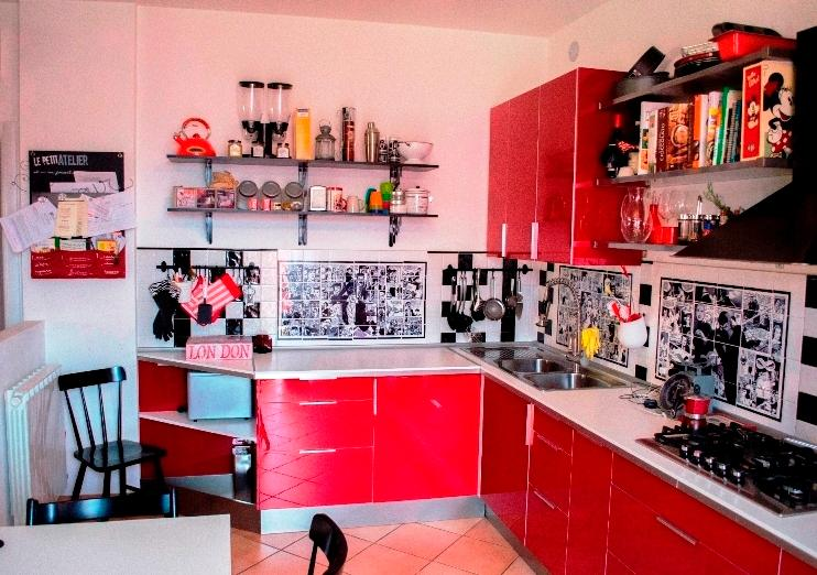 Kitchen - Left corner with shelves and cupboard