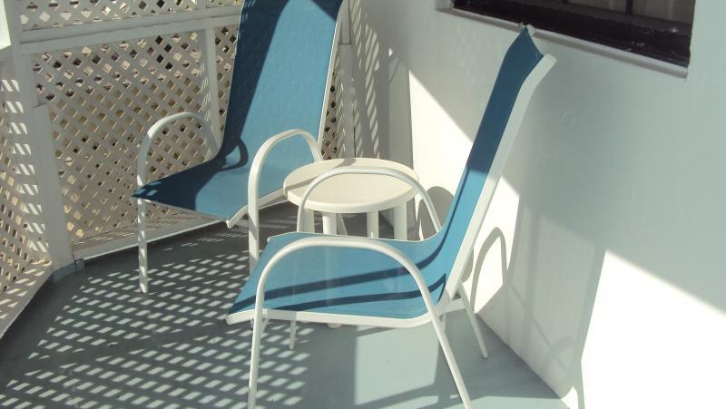 a sunny spot on the bedroom balcony