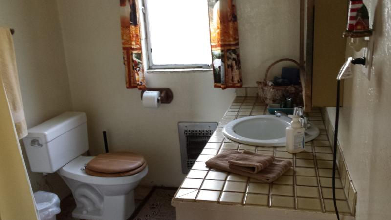 Bathroom, has tub with shower and entrance from master bedroom and also from laundry room.