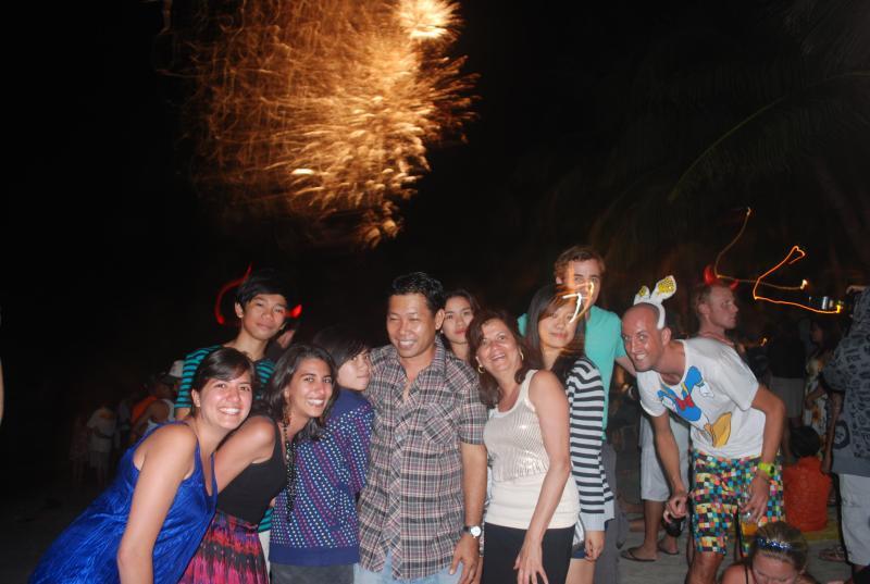 New year fireworks in white beach