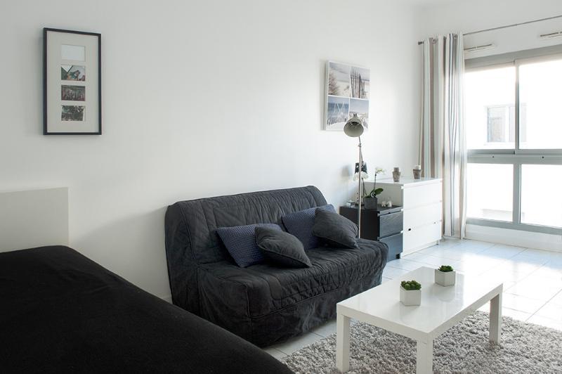 Pièce de vie très claire et climatisée avec canapé lit BZ et lit banquette