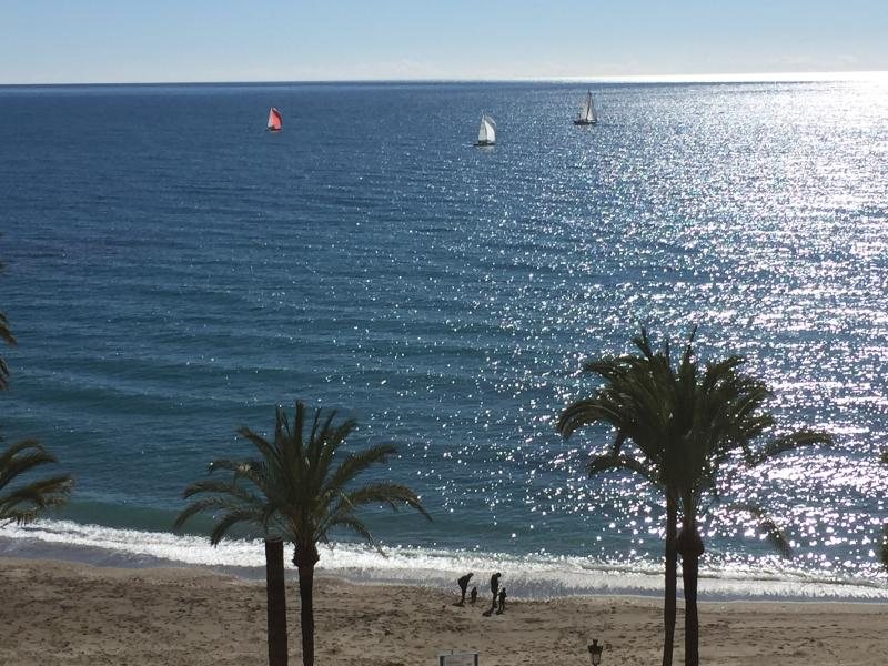 View from Apartment of the beach and the glittering Mediterranean!