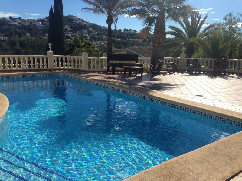 Heated Pool 10m x 5m with terrace and panoramic views of Moraira and the Vineyards