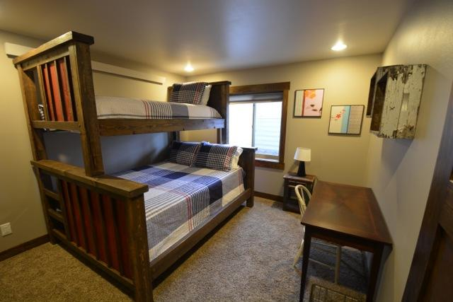 Lower Level Bedroom with Queen and Single Bunk Bed